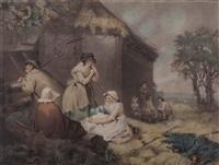 städter und bauern bei heuernte (after james ward) by william ward