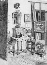 das atelier des malers mit staffelei und pinseltopf by josef köpf