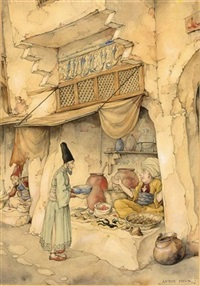 the 250st night, the story of mole; sjamseddin visiting a chemist by anton pieck