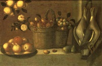 still life with a pair of hanging pigeons, baskets of fruit and plate of apples by alessandro de loarte