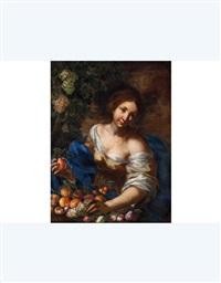 ritratto di giovane donna con natura by guillaume courtois