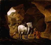 a man doing up the lace of his shoe, with a grey horse and a dog at the entrance to a cave by pieter cornelius verbeeck