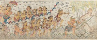 the pandawas are sent off to exile after darmawangsa loses a dice game; the pandawa brothers in exile in the forest, showing arjuna shooting a tiger... by gusti wayan kopang