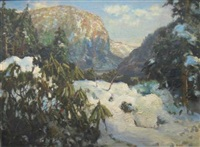 the delaware water gap in winter by john p. heiden