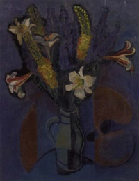 flower still life with a painter's palette by hans timmer