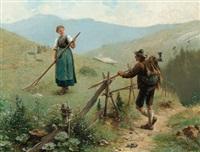begegnung auf der alm by hermann lindenschmit