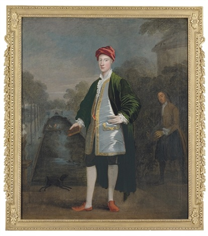 portrait of a gentleman richard boyle with his gardener james scott before a pond chiswick by william aikman