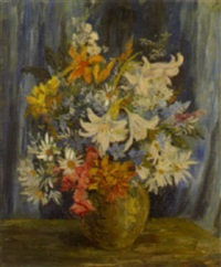 still life with lillies in a vase by courtney kenny