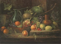 still life of peaches, limes, cherries, corn, grapes, melons, oranges, with a wicker basket to the side by grozberti