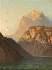 coucher de soleil sur le lac de montagnes by jean francois xavier roffiaen