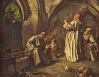 caught out, three monks caught out by an ass by edgar bundy