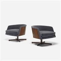 lounge chairs, pair by milo baughman