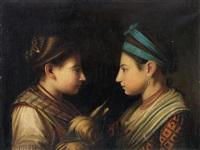 doppelporträt zweier frauen im profil by anonymous-italian (18)