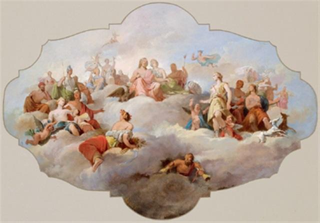 die olympischen götter auf dem parnass entwurf für ein deckengemälde gli dei olimpici sul parnasso bozzetto per un dipinto di sofitto by tito agujari
