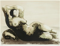 reclining woman on a seashore by henry moore