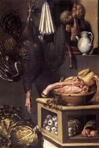 natura morta con pollame e verdura by bartolomeo arbotori