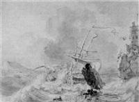 a shipwreck on a rocky coastline by hendrik rietschoof