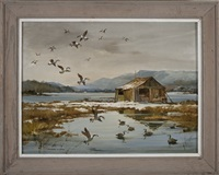 canada geese over a maine camp by marshall w. joyce