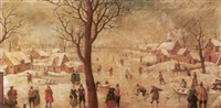 a winter landscape with villagers skating on a frozen river by anthonie van stralen