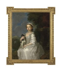 portrait of a young girl, half-length, seated, in a white dress, a king charles spaniel on her lap, in an ornamental park, with a hill-top castle beyond by william hogarth