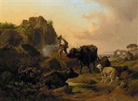 a neatherd with his animals by johann nepomuk rauch