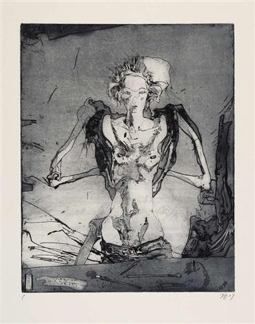konvolut von fünf blatt radierungen der folge totentanz (5 works from totentanz, some lrgr) by horst janssen