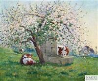 frühlingslandschaft mit kühen by louis edouard garrido
