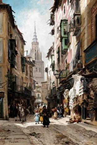 street scene toledo by edme emile laborne