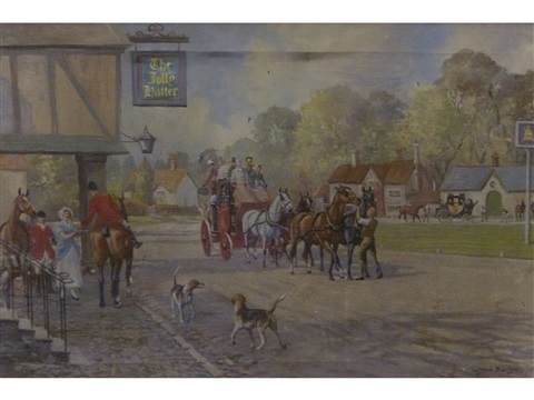 coaching scene outside an inn the jolly hatter by wilfred bailey