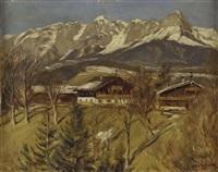 bauernhäuser mit tennengebirge by adolf helmberger