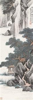江深草阁 立轴 设色纸本 ( landscape) by wu hufan