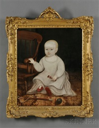 portrait of a baby boy with his rattle, riding whip, and ball by joseph whiting stock