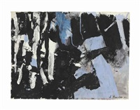 abstract in blue, black and gray by james brooks