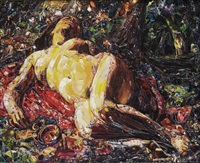 la bacchante, after gustave courbet from pictures of magazines 2 by vik muniz
