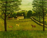 farm scene with three horses by john kane