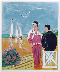 couple at deauville by jean claude picot