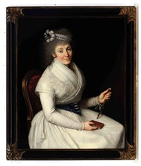 portrait of a lady, wearing a white dress with lace trim, a blue and white ribbon in her hair holding a fan and a book by d. francisco bayeu y subias
