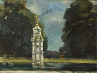 a pond in a public garden by john henry amshewitz