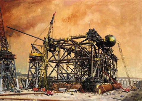 greythorpe oil rig by terence cuneo
