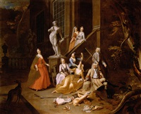 a portrait group of an elegant hunting party, resting before a house by arnold (van haecken) aken