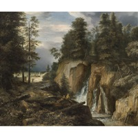 rocky landscape with a waterfall and two figures resting by roelant roghman
