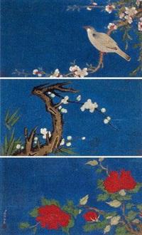 花鸟 三挖片 设色绢本 (3 works on 1 scroll) by jiang pu