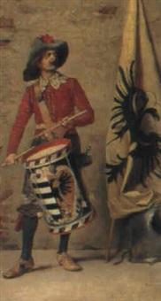 trommler in historischer tracht vor einer mauer posierend by lodovico de courten