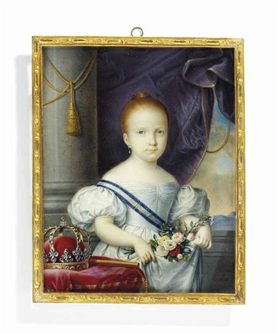 isabella ii (1830-1904), queen of spain, in white dress, wearing the blue and white striped moiré sash of the royal spanish order of charles iii, holding a bouquet of flowers by luis de la (el canario) cruz y ríos