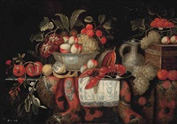 pomegranates, oranges, peaches and grapes, with a lobster on a silver charger, peaches and grapes in a porcelain bowl, a jug with a lid and peaches on a silver tazza, on a partly drapes table by flemish school (17)