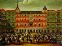 the entrance of carlos iii to the plaza mayor in madrid by luis alcázar y paret