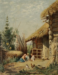 children playing in a farmyard by fedor gelich