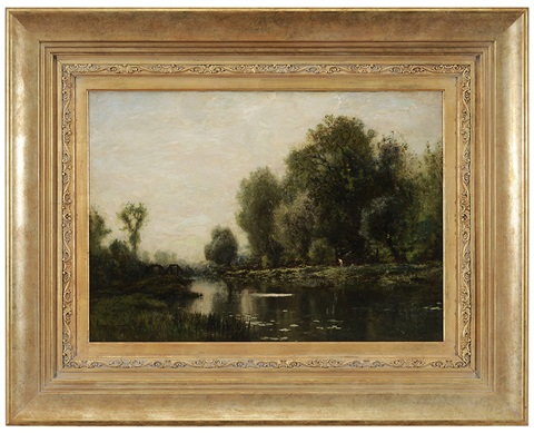 riverlandscape with fisherman by arthur parton