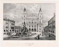 salzburg - domplatz mit staffage (by theodor hellmuth from ansichten der stadt salzburg...) by eugen adam