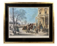 american country life, pleasures of winter, after f.f. palmer by nathaniel currier